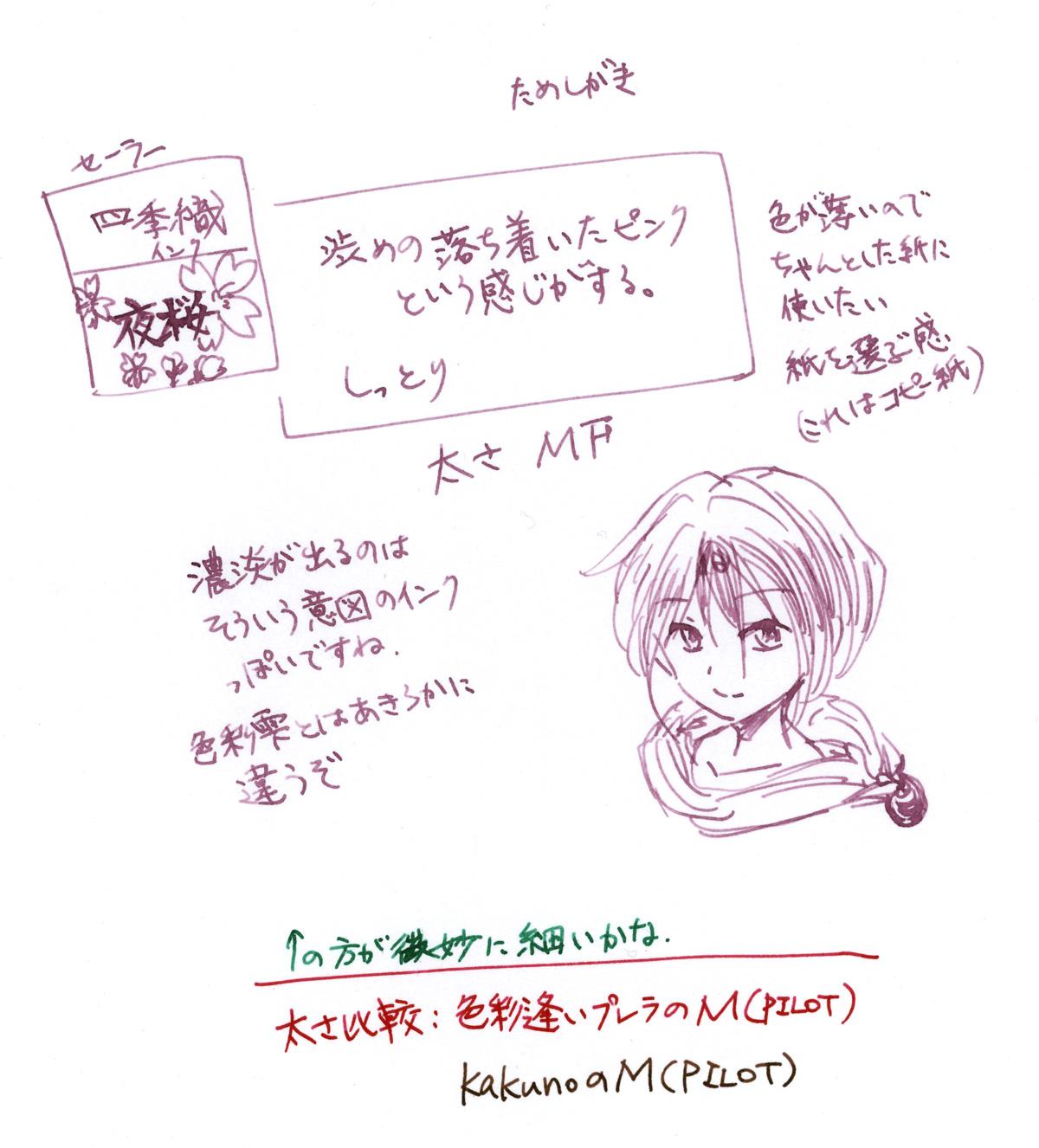 夜桜インク+プロフィットJrで試し書きした図